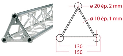 ASD Structure triangulaire 150 alu 3 m