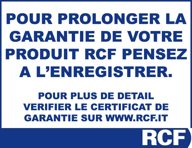 Photo du Extension de garantie RCF Extension de garantie RCF